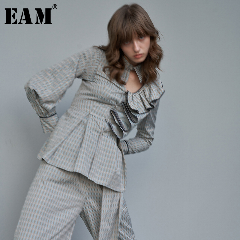 [EAM] Women Blue Plaid Ruffles Hollow Out Blouse New Lapel Long Sleeve Loose Fit Shirt Fashion Tide Spring Autumn 2020 1S004