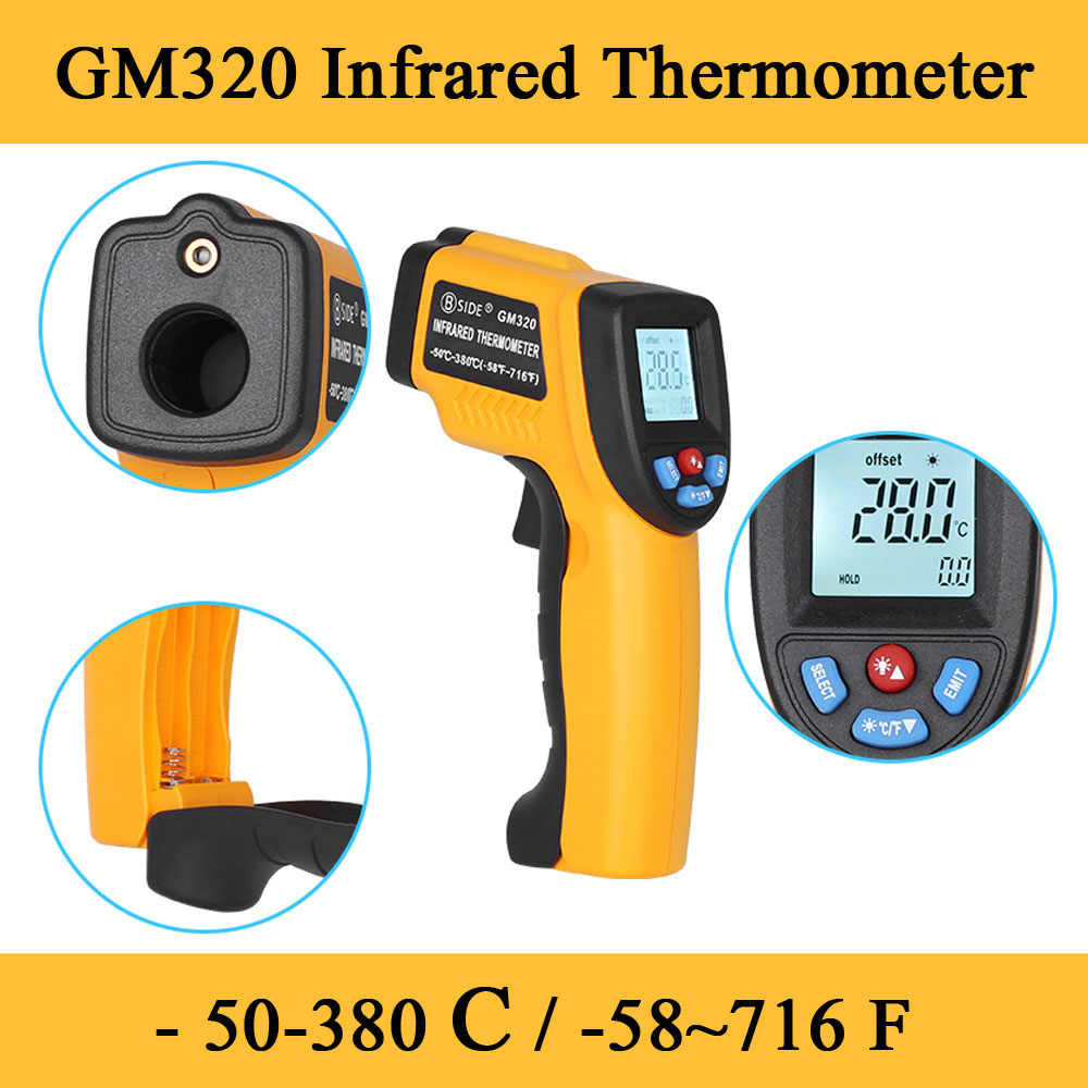 2020 GM320 LCD IR Infrared Thermometernon-Kontak Digital Pyrometer Suhu Meter Point -50 ~ 380 Derajat Termometr