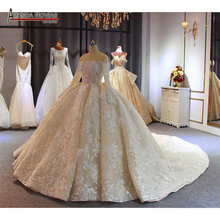 Champagne color feather lace wedding dress 2020 new ball gown bridal dress