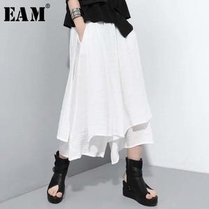 [EAM] High Elastic Waist White Brief Long Wide Leg Trousers New Loose Fit Pants Women Fashion Tide Spring Summer 2020 1U734