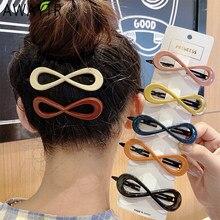 AWAYTR moda koreański kształt 8 Hollow Metal numer szpilka kobiety dziewczyna Bangs spinka do włosów proste Barrettes akcesoria do włosów gorąca sprzedaż