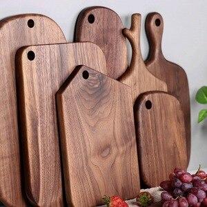Placa de corte de madeira maciça placa de pizza de nogueira preta placa de pão bife de madeira inteira