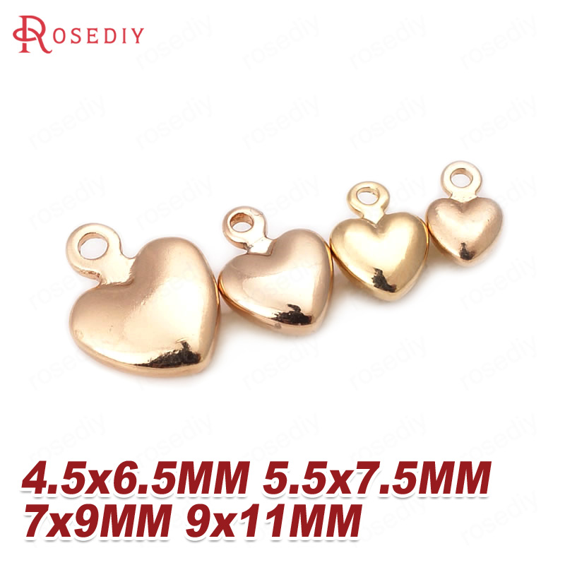 (D240)20 pieces 4.5x6.5mm 5.5x7.5mm 7x9mm 9x11mm 24K Champagne Gold Color Brass Heart Charms High Quality Jewelry Accessories image