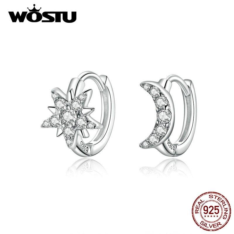 Wostu authentic 925 prata esterlina lua & estrela brincos clássico zircon brincos inteligentes para mulheres fazendo jóias finas cte289
