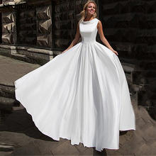 Женское атласное свадебное платье sevintage ТРАПЕЦИЕВИДНОЕ ПЛАТЬЕ