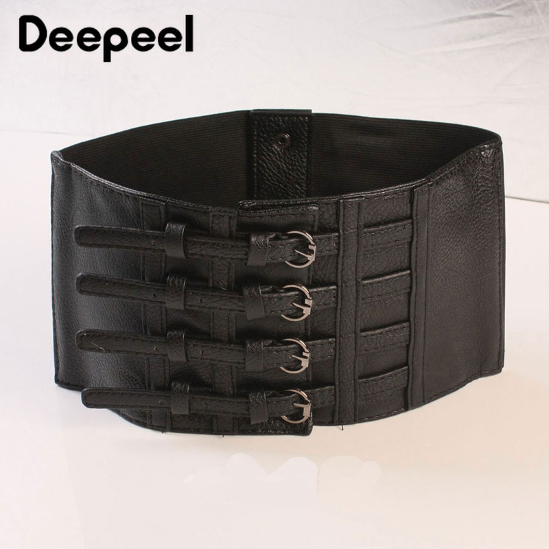 Deepeel 1pc 15cm*64cm Four-breasted Elastic Super Wide Ladies Cummerbunds  Simple And Versatile With Dress Cummerbunds YK640