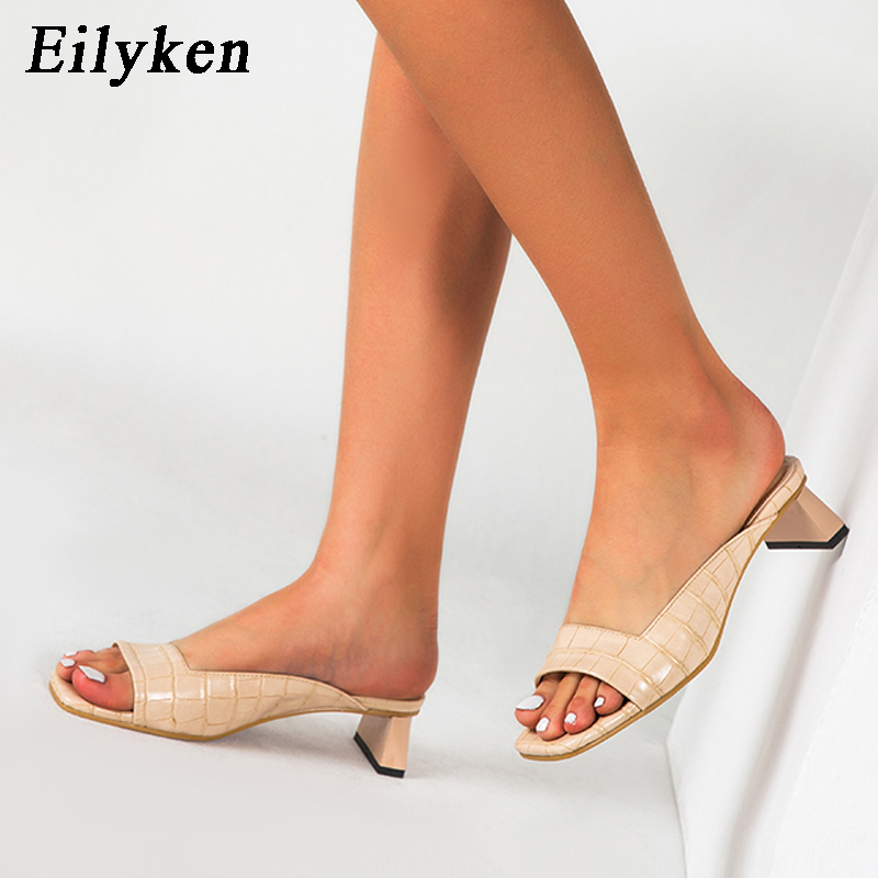 Eilyken Summer Women Mules Slippers Slides Open Toe Low Heels Sexy Shallow Female Leisure Beach Shoes Sandals Big Size 42 43
