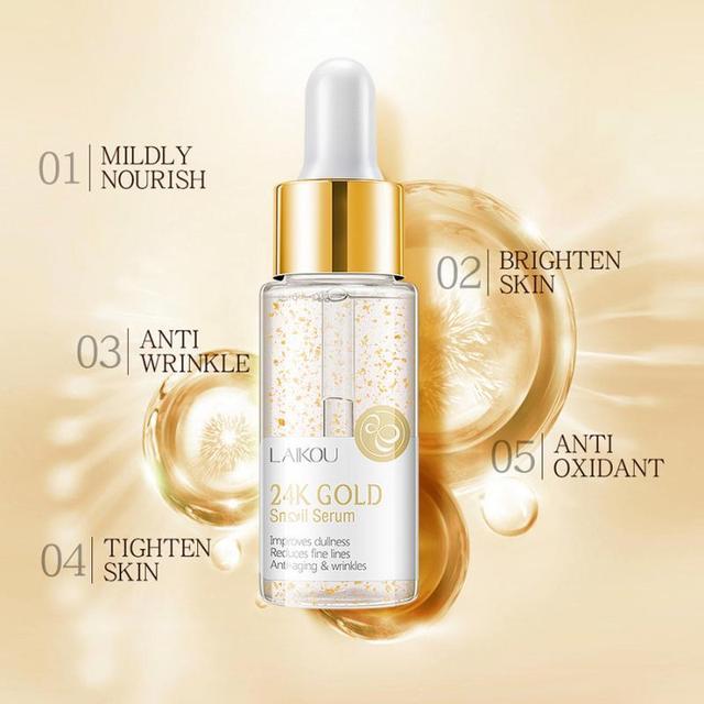 15ml 24K GOLD Face Cream Whitening Moisturizing Snail Serum Snail Essence 24 K Gold Day Creams & Moisturizers Skin Care TSLM1