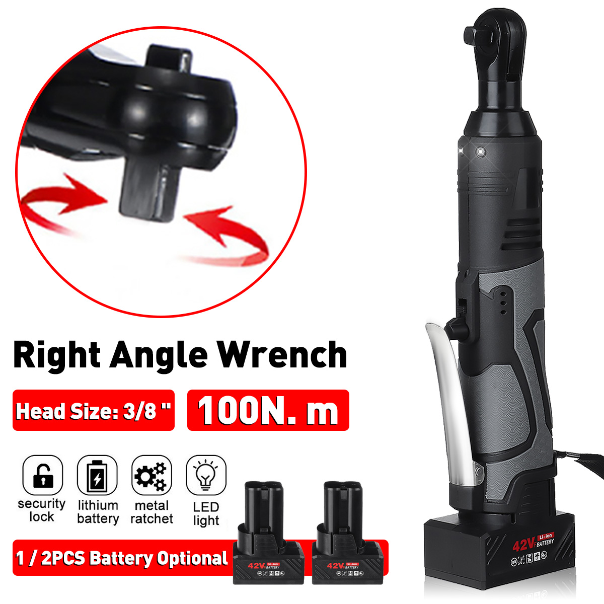 Doersupp 3/8'' 12V 100Nm Powerful Electric Cordless Wrench Ratchet Right Angle Wrench Tool Set With Rechargeable Battery