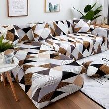 Pokrowce na sofy do salonu 1/2 sztuk geometryczny Plaid przekrój narzuta na sofę zestaw rozciągliwy na sofę narzuty 1/2/3/4 osobowa