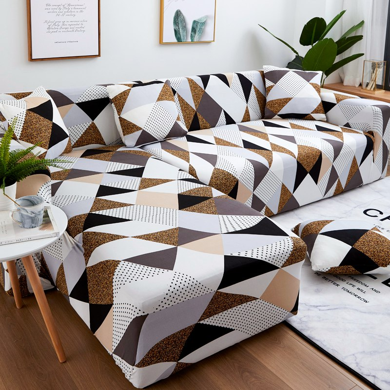 Sofa Covers for Living Room 1/2 Pieces Geometric  Plaid Sectional Couch Cover Set Stretch Sofa Slipcover 1/2/3/4 SeaterSofa Cover   -