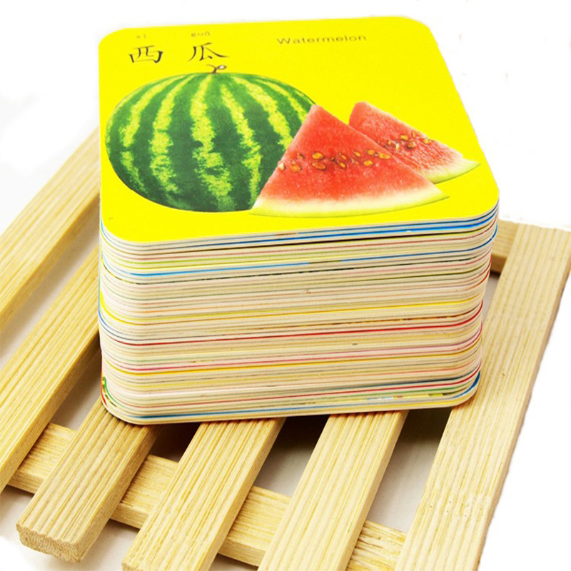 Young CHILDREN'S Tear Rotten Figure Animal Fruit & Vegetable Facial Features English Sound Making Word Plastic Cards Traditional