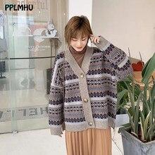 Solto contraste cor com decote em v único breasted knitt cardigan feminino vintage malhas casaco casual coreano topos outerwear feminino