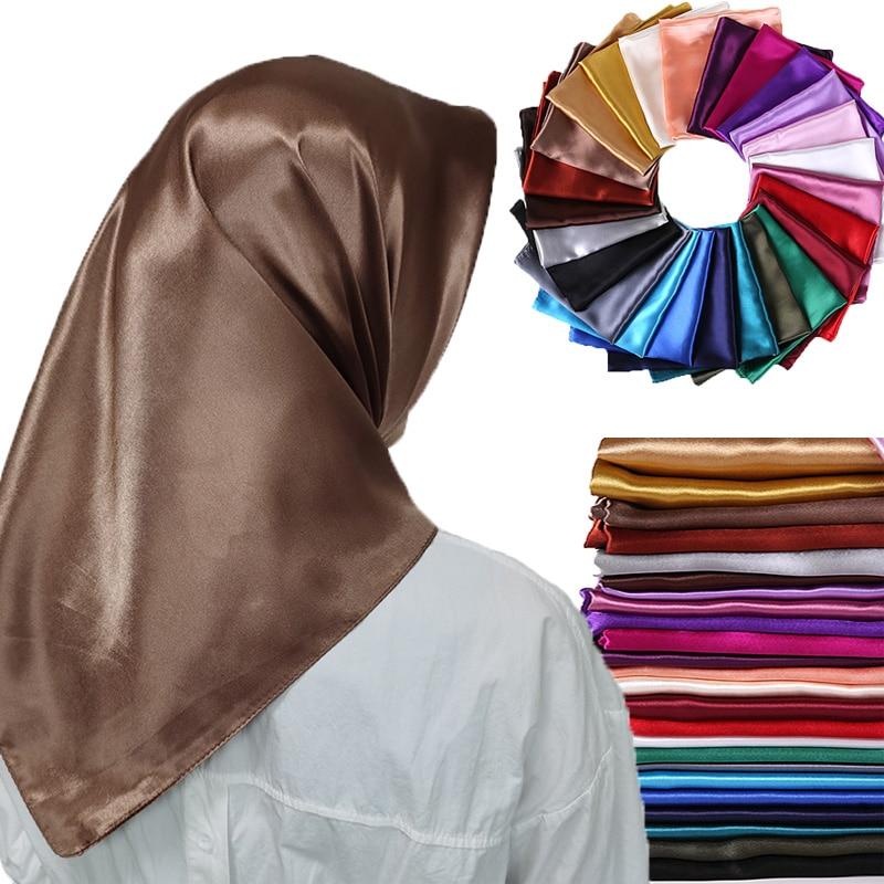 Goldcolor Women Square Hijab Satin Silk Scarf Wrap Autumn Winter Sjaal Luxury Large Satin Scarves Muslim Head Scarf 90*90cm