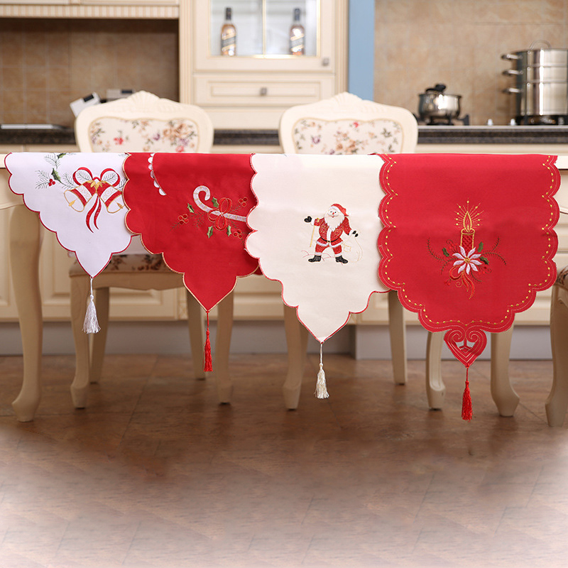 170 40cm Embroidered Christmas Table Runner With Tassel Christmas
