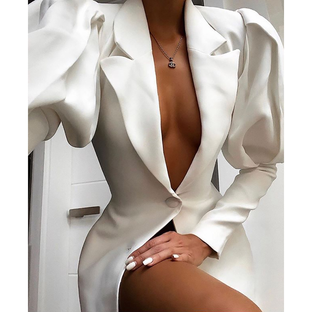 STYLISH LADY Long Puff Sleeve Elegant Blazer 2019 Autumn Women V Neck Single Breasted White Office Lady Workwear Jacket Blazer