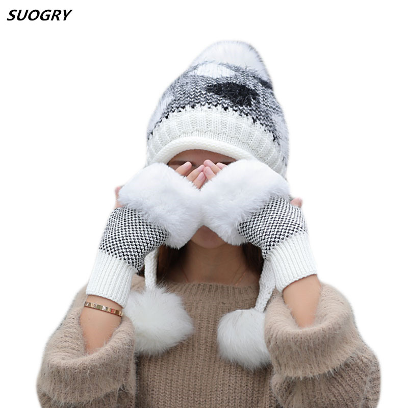 2019 New Women Rabbit Hair Knitted Hat Gloves Set Thick Warm Winter Skullies Hat Three Pom Pom Ski Beanie Cute Beanie Caps For Girl