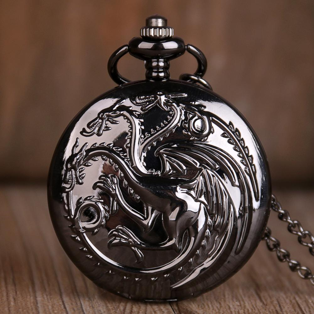 Steampunk Game Of Thrones House Quartz Pocket Watch Awesome Dragon Fire And Blood Pocket Watches Man Women Necklace Chain Clock