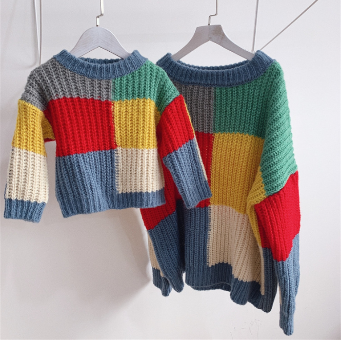 Family Colorful Sweaters Mommy Mother And Daughter Clothes Print Sweater For Family Matching Outfits Winter Clothing