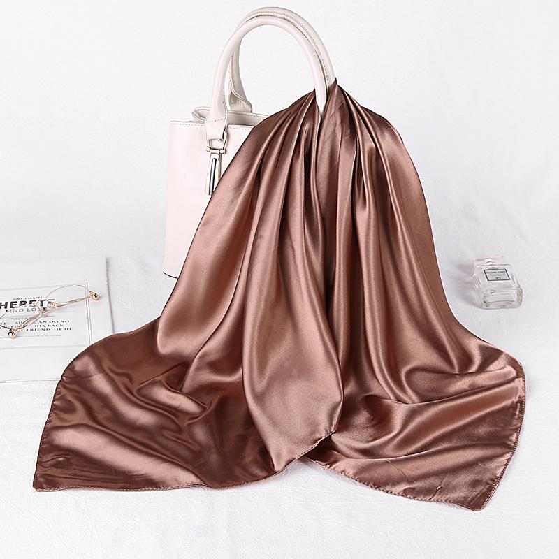 Solider Color Black Women Square copy Silk Scarf Wraps Autumn Winter Sjaal Luxury Large Satin Scarves Muslim Head Scarf 90*90cm