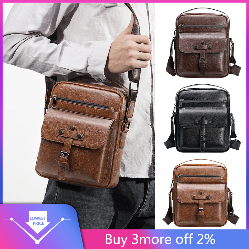 Simple Dot Briefcase Business Men Vintage Shoulder Bags Crossbody Bags Retro Zipper Handbags Casual Man Shoulder Bag