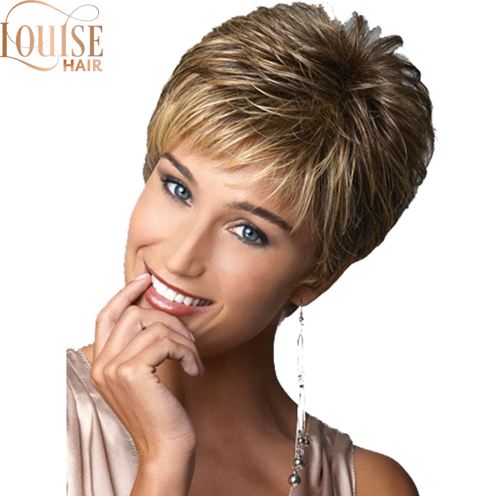Louise Hair  Short Ombre Brown Blonde Wigs For Black Women Natural Straigh Layer Puffy Wigs Heat Resistant Female Hair Pieces