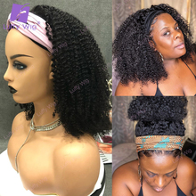 Scarf Wigs Human-Hair Curly Afro Kinky Luffy Glueles Black Women Brazilian New for 200-Density
