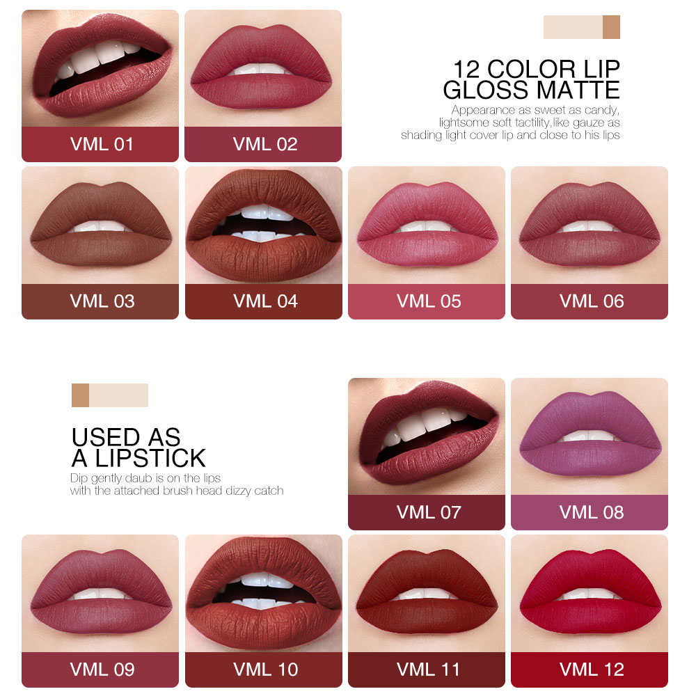 O.TWO.O 12colors Best Sale Hot Cosmetics Makeup Lip Gloss Long Lasting Waterproof Easy to Wear Matte Lipstick 1
