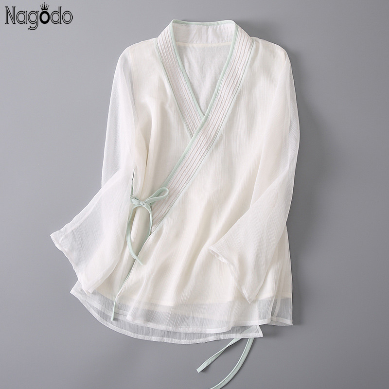 Nagodo 100% Real Silk Shirt 2020 Summer White Loose Ladies Chinese Blouse Seven-Sleeve Vintage Chinese Traditional Hanfu Top