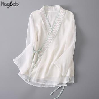 Nagodo 100 koszula z prawdziwego jedwabiu 2020 letnia biała luźna damska chińska bluzka z siedmioma rękawami Vintage chińskie tradycyjne Hanfu Top tanie i dobre opinie SILK Topy WOMEN Popelina Real Silk Shirt