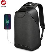 حقيبة ظهر للرجال من tigerنو مضادة للسرقة حقيبة ظهر للحاسوب المحمول مزودة بمنفذ USB حقائب مدرسية للمراهقين بدون مفتاح قفل TSA حقيبة ظهر مدرسية