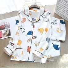 Frauen Stricken Baumwolle Thin Pyjamas Cartoon Druck 2 Stück Pyjamas Loungewear Pijama Mujer Langarm Nachtwäsche Hause Kleidung