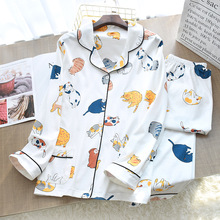 Nữ Đan Cotton Mỏng Bộ Đồ Ngủ Hoạt Hình In 2 Mảnh Pyjamas Loungewear Pijama Mujer Tay Dài Đồ Ngủ Mặc Nhà Quần Áo