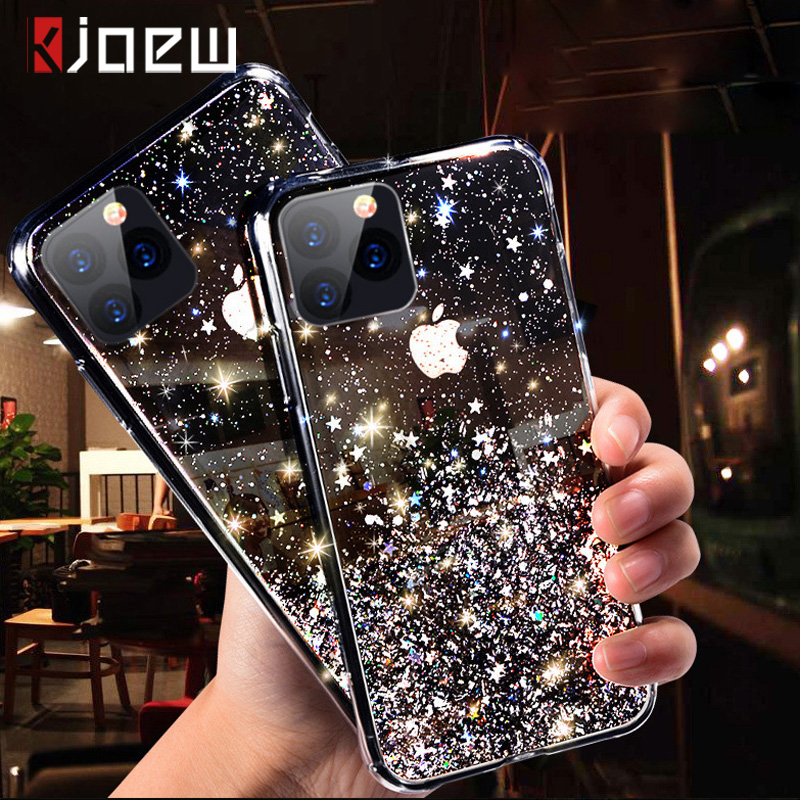 KJOEW <font><b>Glitter</b></font> Bling Pailletten Fall Für <font><b>iPhone</b></font> 11 Pro Xs Max X XR 8 7 Plus 6 <font><b>6s</b></font> Epoxy stern Glänzende Transparent Fall Weiche TPU Abdeckung image