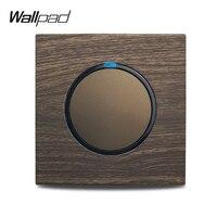 Wallpad-Interruptor de luz de pared de 1, 2, 3 y 4 entradas, interruptor momentáneo de paso cruzado para cortina, indicador LED, aluminio y madera