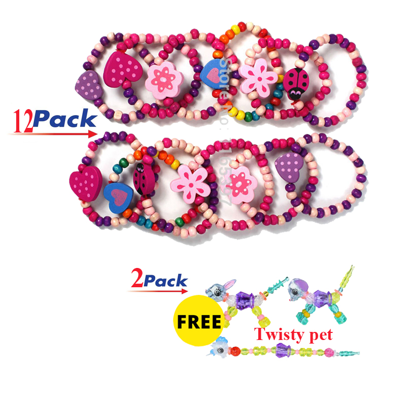 Freeship 12x Cool New Charming Girls Wooden Bracelet Differ Shapes Colors  Assort.pinata Party Bag Fillers Favor Gifts For Girls