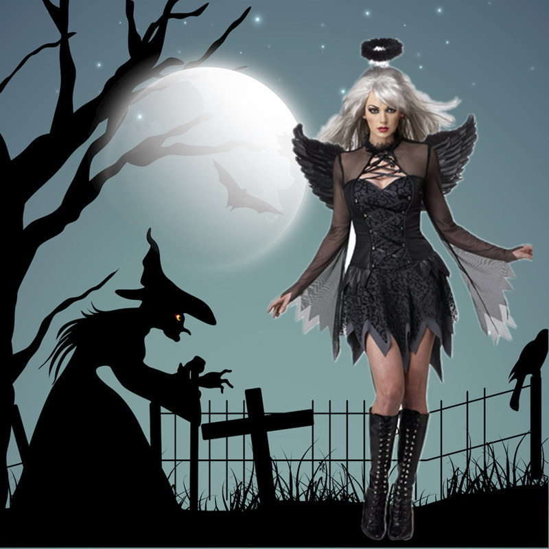Ataullah <font><b>Halloween</b></font> Cosplay <font><b>Dress</b></font> Dark Angel Wings Costume Carnival Party Ghost Vampire Woman Mesh <font><b>Sexy</b></font> <font><b>Dress</b></font> Hair Hoop DW001 image