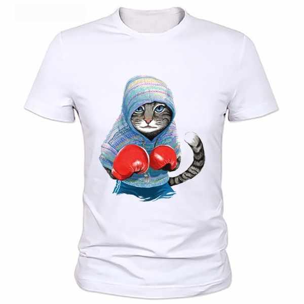 ผู้ชายแมวพิมพ์เสื้อยืดโหมดเสื้อยืด hommes T-เสื้อ hommes chemises MMA Casual Slim multicolore Chat