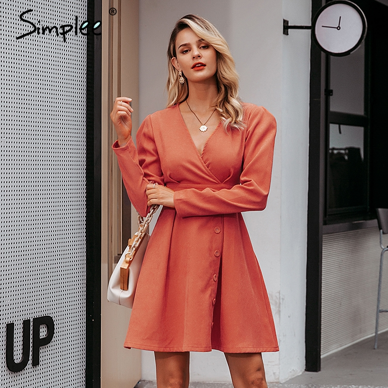 Simplee High Waist Short Party Dress Streetwear Sexy V-neck Warm Dress Holiday Solid Buttons Ladies Autumn Retro Dress Vestidos
