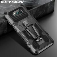 KEYSION Stoßfest Rüstung Fall für Xiaomi POCO X3 NFC Stehen Silikon Telefon Abdeckung für Redmi Hinweis 9 Pro 9S 9T 9A 9C 8 Pro 8A 5 6 7A