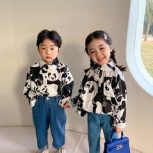 Spring 2021 Fashion Kids Boys Girls Panda Printing Long Sleeve Shirts Brother and sister Casual Shirt Tops Clothing