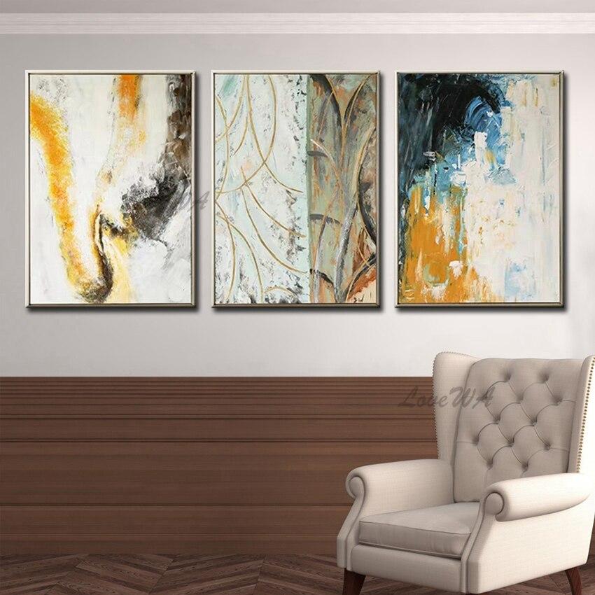 Nouveau peint à la main 3 pièces toile peinture à l'huile groupe mur Art peintures à l'huile maison mur Art 3 panneaux photos œuvre décorative