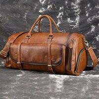 MAHEU Vintage Reisetasche Für 17 Zoll Laptop Licht Gewicht Große Leder Handtasche Für Business Tour Männer Männlichen Leder Gepäck tasche