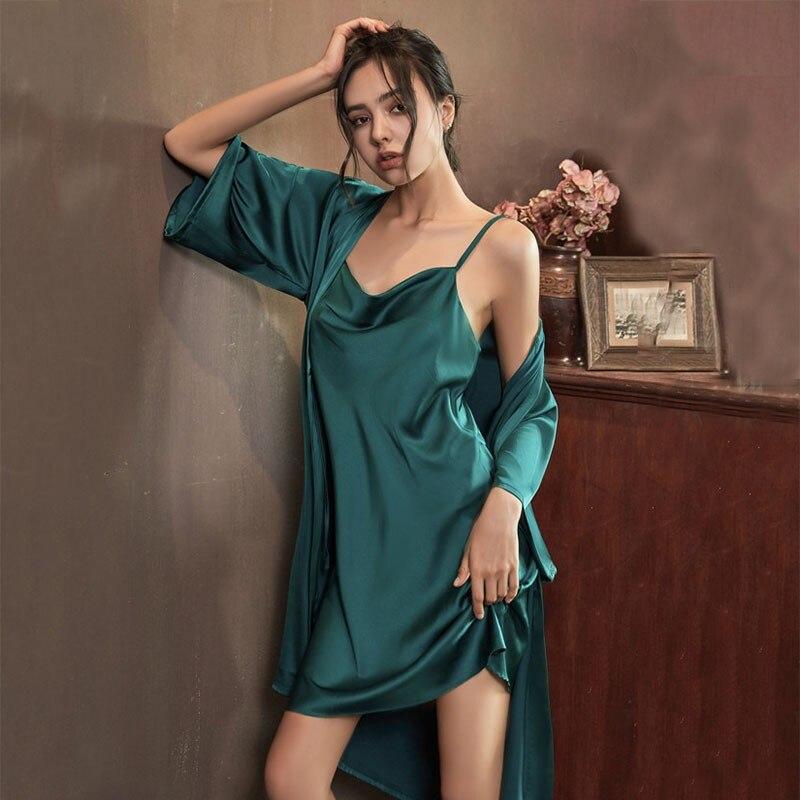 Faux Silk Robe Women Sexy Kimono Bathrobe Gown Sleepwear Satin Bride Bridesmaid Wedding Robe Nightdress Summer New Lingerie