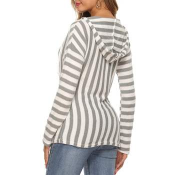 Photo Shoot 2019 Autumn and Winter New Style Hooded WOMEN'S Long-Sleeve with Pockets Striped V-neck Top twist front v neck striped top