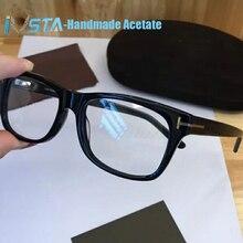 IVSTA TF5176 com logotipo Real Artesanais Óculos de Armação De óculos de Acetato Óptica da Prescrição de Marca De Luxo Homens Mulheres Tom 5040 5147