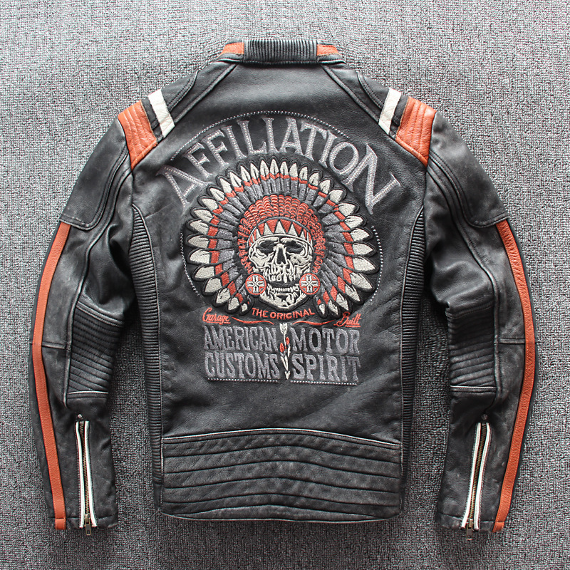 2020 Vintage Black Men Leather Motorcyclist Jacket Skull Embroidery Plus Size 3XL Genuine Cowhide Short Biker Coat FREE SHIPPING