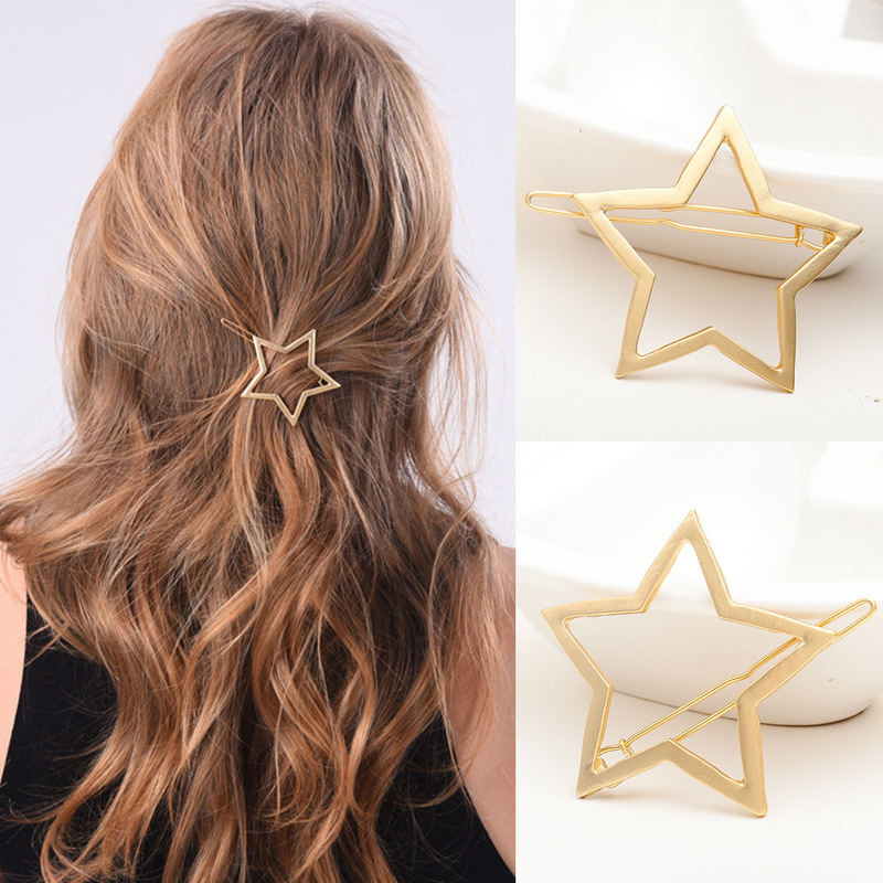 4.5cm Women Hairpins Girls Star Heart Circle Hair Clip Delicate Unicorn Hair Pin Hair Punk Hollow Out Triangle Styling Tools