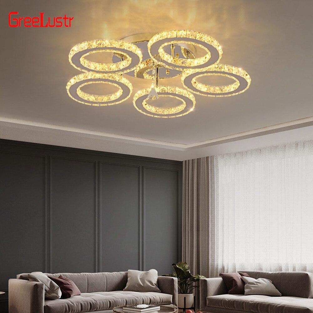 Современный блеск хромированные хрустальные люстры освещение 30 Вт Led подвесной потолочный светильник для кухни Plafon Lamparas De Techo светильник