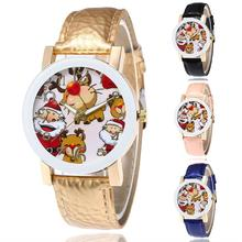 цена Fashion Watches Unisex Santa Claus Deer Faux Leather Strap Analog Quartz Wrist Watch Xmas Gift Wristwatches Casual Wrist Watch онлайн в 2017 году